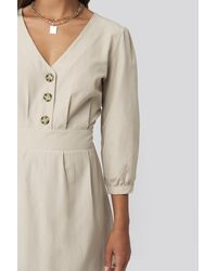 Trendyol Natural Stone Buttoned Midi Dress