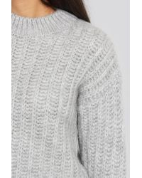 NA-KD Round Neck Heavy Knit Sweater in het Gray