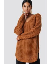 NA-KD Brown V-neck Pineapple Knitted Sweater