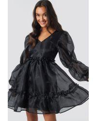 NA-KD Black Party Open Back Organza Dress