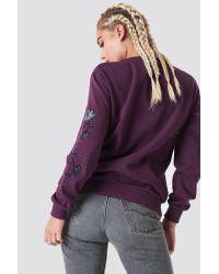 NA-KD Rose Embroidery Sleeve Sweater Purple