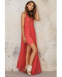 Line & Dot Red Azure Maxi Dress
