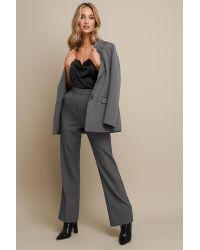 NA-KD Gray Linn Ahlborg x High Waist Flared Leg Suit Pants