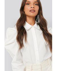 NA-KD Puff Shoulder Shirt in het White