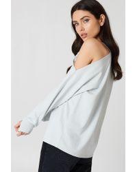 NA-KD Gray Cut Out Shoulder Sweatshirt Cloud