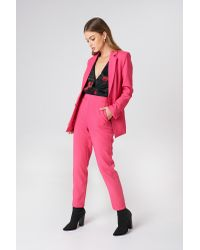 NA-KD Straight Suit Pants Pink