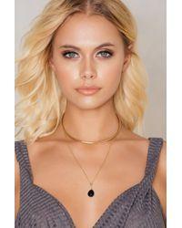 NA-KD - Metallic Stiff Hanging Crystal Necklace - Lyst