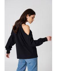 NA-KD Cut Out Shoulder Sweatshirt Black
