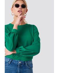 Rut&Circle Green Meta Back Button Blouse