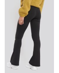 NA-KD Black Classic Exposed Seam Flare Leggings