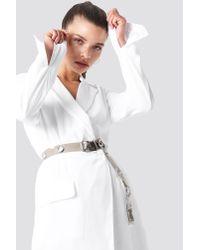 NA-KD - Gray Transparent Eyelet Belt Grey - Lyst