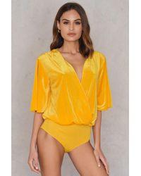 Sheln Front Velvet Bodysuit in Yellow - Lyst 2ec2ccd60