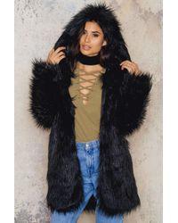 SanneAlexandra | Black Hoodie Long Faux Fur | Lyst