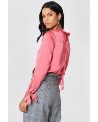 Rut&Circle Ebba Back Knot Blouse Pink