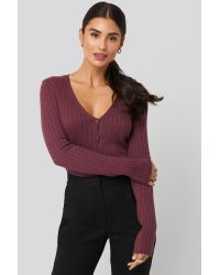 NA-KD Red Dilara x Ribbed Knitted Button Top