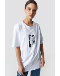 NA-KD White Oversized Front Print Tee