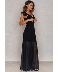 Trendyol Black Cut Out Sheer Maxi Dress