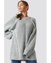 Trendyol Oversized Knitted Sweater in het Gray