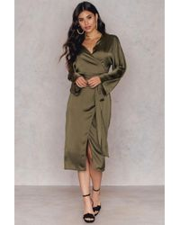 NA-KD - Green Kimono Wrapped Dress - Lyst