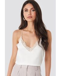 NA-KD White Trend Contrast Lace Satin Cami Top