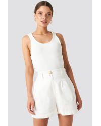 NA-KD White Classic Linen Blend Darted Shorts