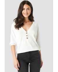 NA-KD White Trend Short Sleeve Button Front Sweater