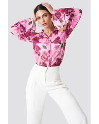 NA-KD Pink Flounce Sleeve Cold Shoulder Shirt