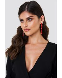 NA-KD - Red Hanging Row Stone Earrings - Lyst
