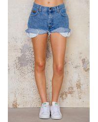 NA-KD - Blue Wrangler Mid Waist Vintage Shorts - Lyst