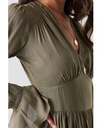 NA-KD Green Boho Fitted Waist Frill Detail Dress