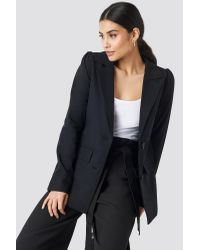 NA-KD Black Classic Oversized Puff Shoulder Blazer