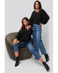 NA-KD Black Puff Sleeve V-neck Sweatshirt
