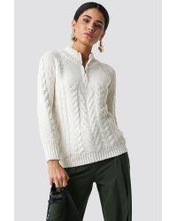 Trendyol White Knit Zipp Detail Sweater