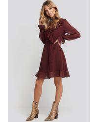 NA-KD Red Boho Flounce Chiffon Mini Dress