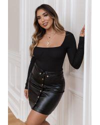 NA-KD Black Adorable Caro x Button Up Pu Skirt