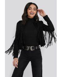 NA-KD Black Trend Fake Suede Fringe Jacket