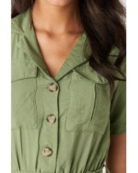 Trendyol Belted Pocket Detailed Playsuit in het Green