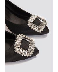 NA-KD - Black Embellished Mid Heel Satin Pumps - Lyst