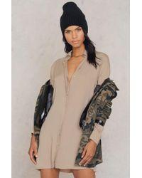 Trendyol Natural Shirt Slit Dress Beige