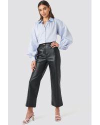 NA-KD Black Trend Wide Leg PU Pants