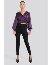 NA-KD Wrap Front Cropped Blouse in het Purple