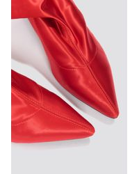 NA-KD Red Shoes Satin Kitten Heel Sock Boots