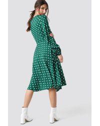 NA-KD Green Boho Wrapped Dot Midi Dress