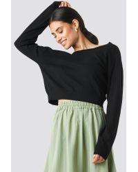 Back V-neck Cropped Sweater NA-KD en coloris Black