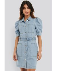 NA-KD Blue Trend Puffärmel Jeanskleid Mit Gürtel