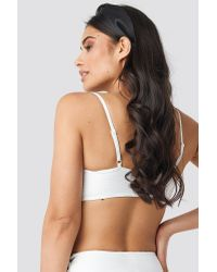 NA-KD Structured Drawstring Bikini Top in het White