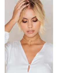 NA-KD - Brown Doublestrap Feather Circle Choker - Lyst