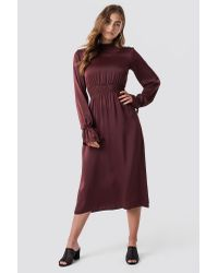 NA-KD Ruched Detail Midi Dress in het Red