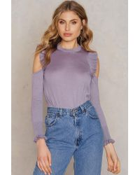 NA-KD Purple Boho Cold Shoulder Frill Sweater