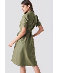 NA-KD Green Trend Belted Shirt Dress